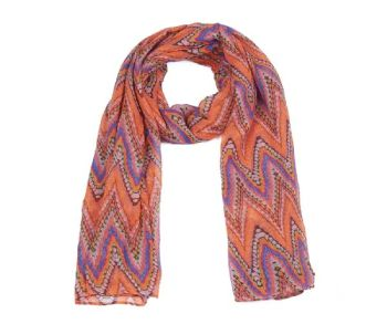 Neon Orange Aztec Boho Printed Oversized Lightweight Fashion Scarf