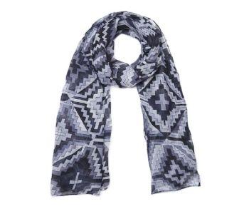 Grey & Black Geometric Print Oversized Lightweight Fashion Scarf