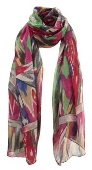 Pink & Green Abstract Print Oversized Lightweight Fashion Scarf