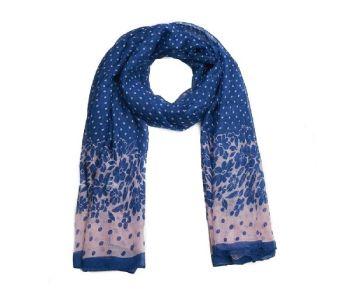 Blue Polka Dots & Floral Print Oversized Lightweight Fashion Scarf