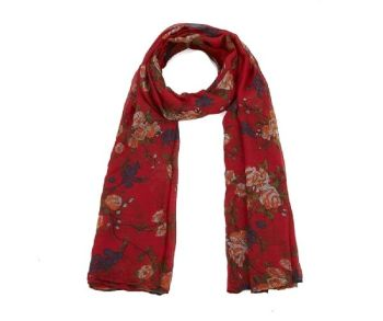 Red with Orange Floral Print Oversized Lightweight Fashion Scarf