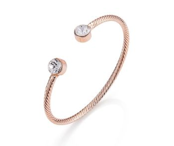 Rose Gold Diamante Twist Bangle