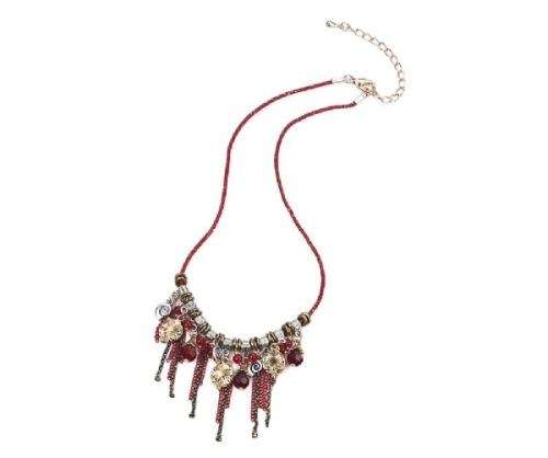 Red and Gold Charms & Gems Necklace