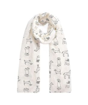 Cream with Glossy Black Dogs Print Oversized Lightweight Fashion Scarf