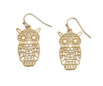 Gold Owl Cutout Earrings