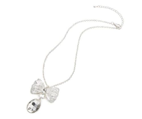 Large Silver Bow Neckalce with Teardrop Crystal