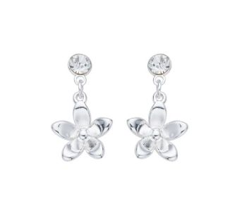 Silver Flower Drop Earrings with Crystal Stone