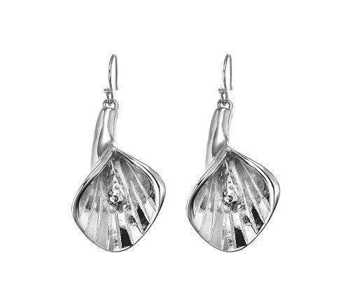 Silver Flamingo Flower Earrings