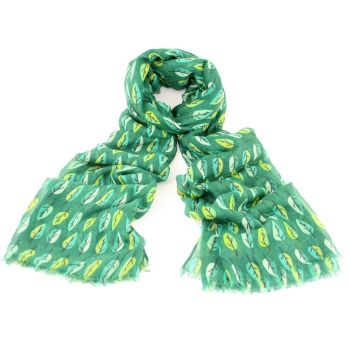 Bright Green Tree Print Oversized Lightweight Fashion Scarf