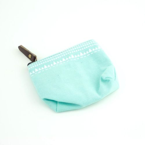 Mint Green Small Zipped Pastel Coin Purse with Triangles Print