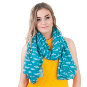 Green Fish Print Oversized Lightweight Fashion Scarf