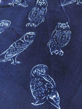 Midnight Blue Tawny Owl Print Oversized Lightweight Fashion Scarf