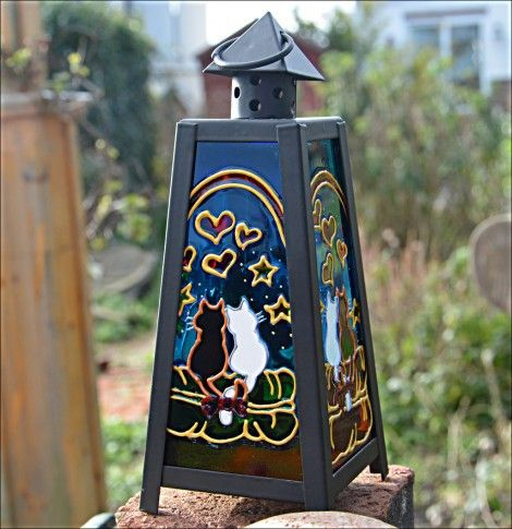 cat tealight candle suncatcher lantern handmade wonderstreet lylia rose blo