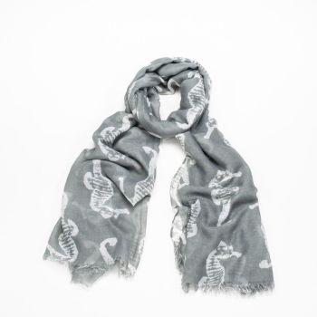 Grey Seahorse Print Oversized Lightweight Fashion Scarf