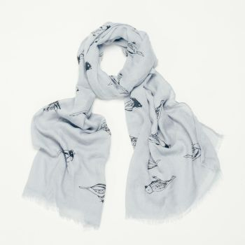 Grey Avis Bird Print Oversized Lightweight Fashion Scarf