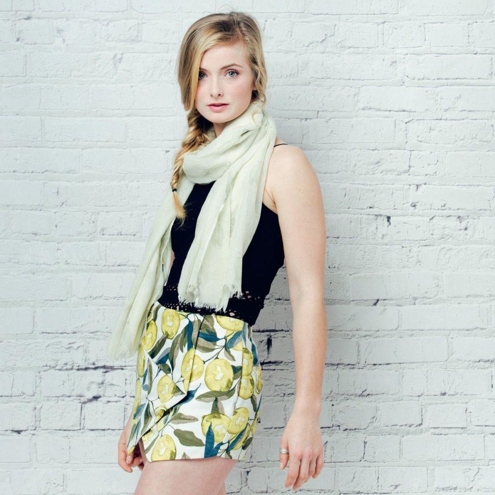 White Eule Owl Print Oversized Lightweight Fashion Scarf