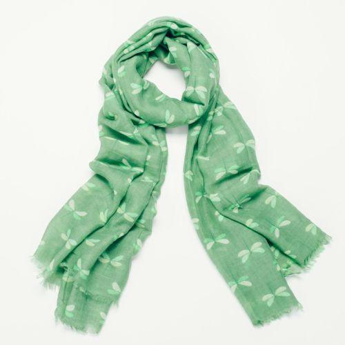 Green FiFi Dragonfly Print Oversized Lightweight Fashion Scarf