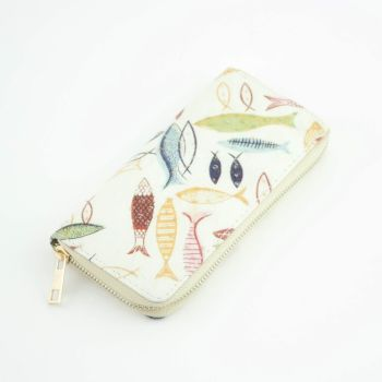 Cream Fish Print Large Zip Purse