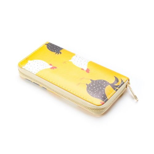 Yellow Cockerel Print Large Zip Purse