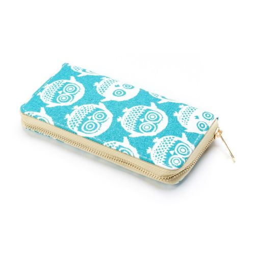 Turquoise Owl Print Large Zip Purse