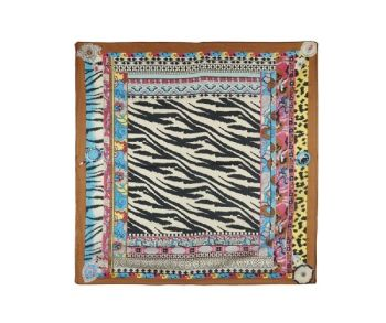 Multicolour Animal Print Boho Faux Silk Square Fashion Scarf