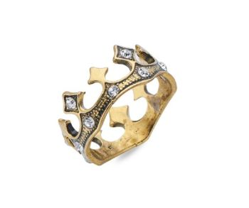 Crown Shaped Gold 18mm Ring with Silver Crystal Stones