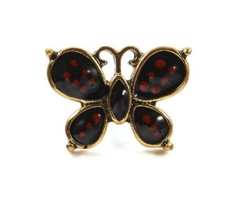 Mini 2.2cm Butterfly Pin Brooch with Black & Red Enamel & Antique Gold Finish