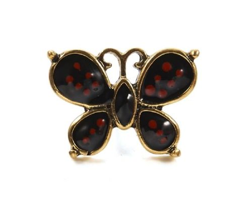 Mini 2.2cm Butterfly Pin Brooch with Black & Red Enamel & Antique Gold Fini
