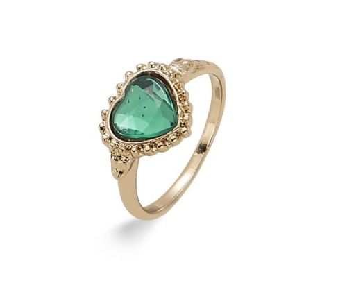 Elegant Vintage Style Gold Band Heart Ring 18mm with Acrylic Stone