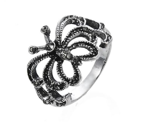Antique Silver Butterfly Cutout 18mm Ring with Black Crystal Diamante Stone