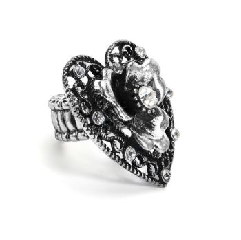 Large 4cm Statement Vintage Style Heart Stretch Ring in Antique Silver Finish with Crystal Diamantes