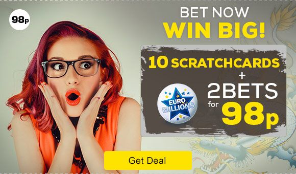 How to Get 2 Euromillions Bets for 98p plus 10 Free Scratchcards