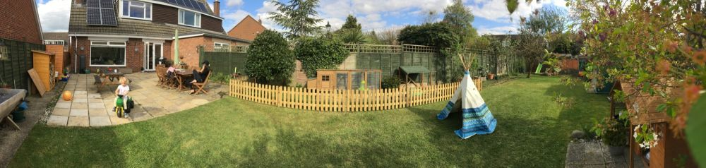 A panoramic photo of our garden and makeover progress