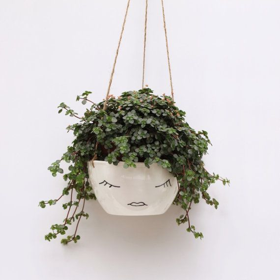 Etsy Editors Picks Interior Design Trends ceramic hanging face planter