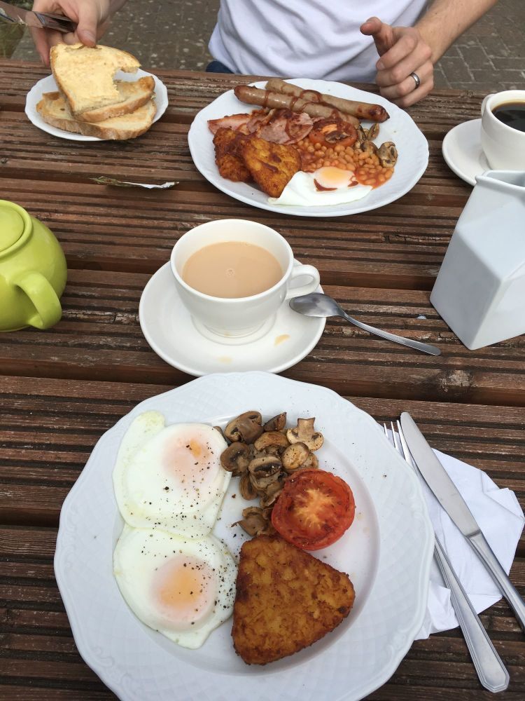 A Kid Free Camping Trip to the Vale of Glamorgan - cooked breakfast acorn c