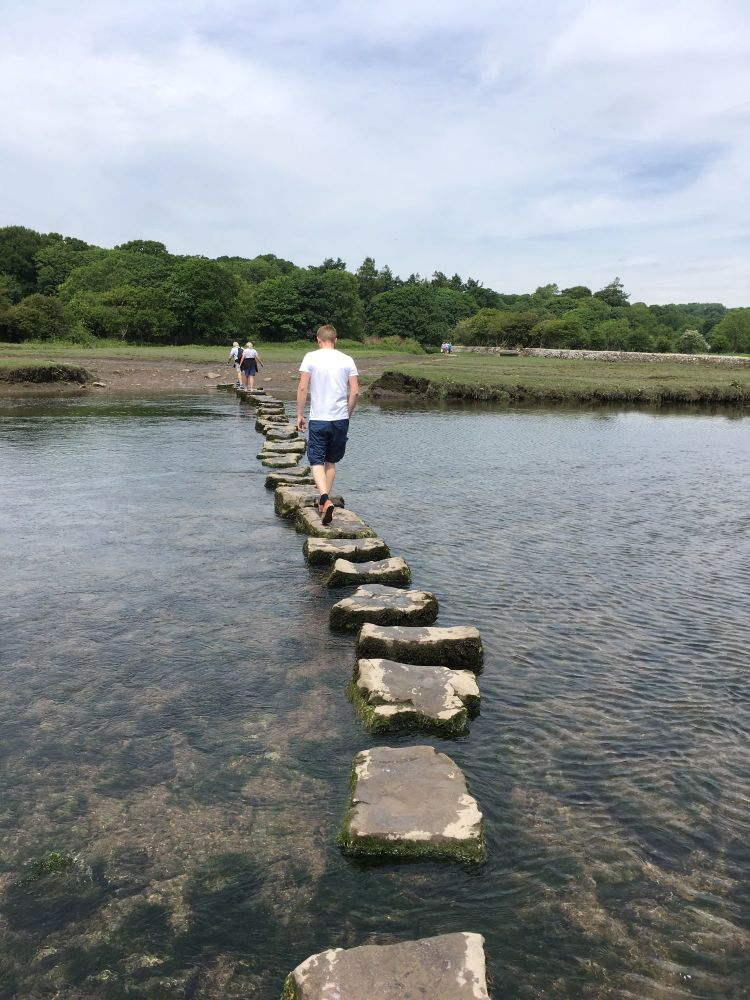 A Kid Free Camping Trip to the Vale of Glamorgan - stepping stones river og