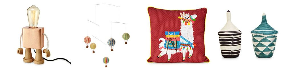 robo lamp, hot air balloon mobile, llama cushion, handwoven friendship bask