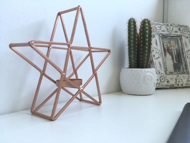 copper star geometric candle holder - new bedroom minimal blogging space wi