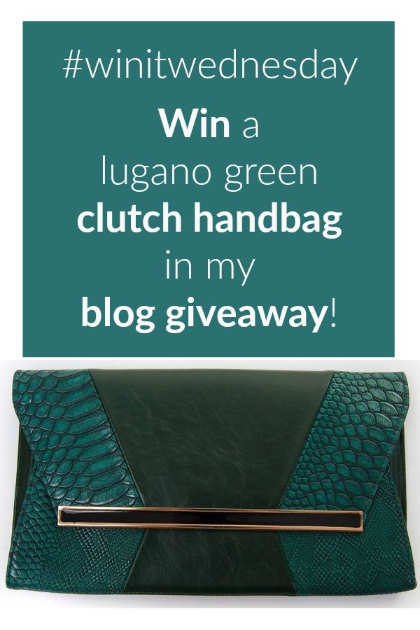 win a lugano green clutch handbag in my blog giveaway