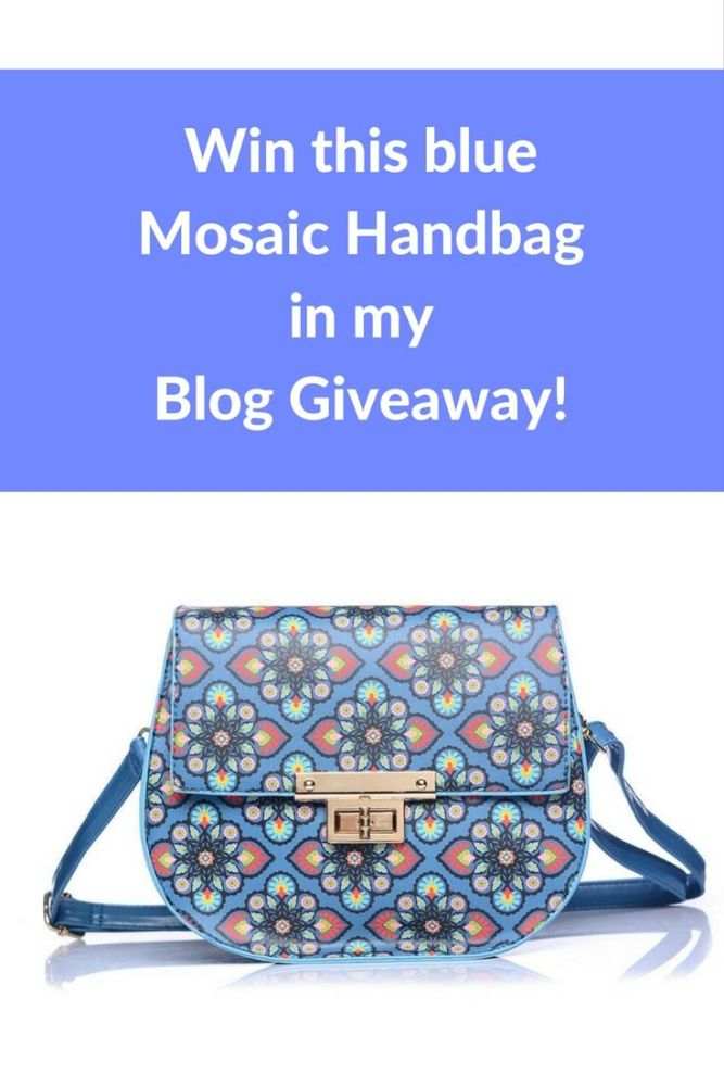 win this blue mosaic handbag in my blog giveaway pin