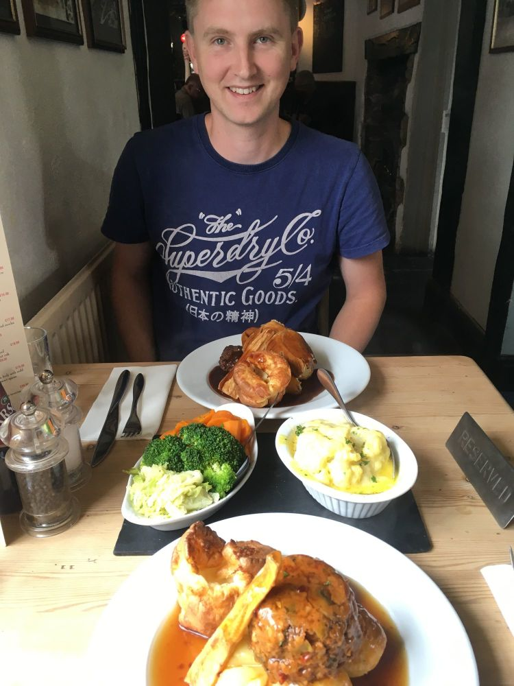 roast dinner at the cross inn A Kid Free Weekend Hot tub glamping and zip w