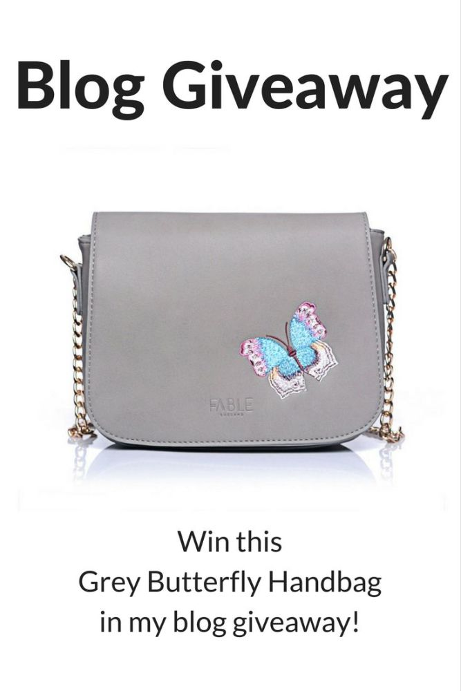 please pin this picture - win this butterfly grey handbag in my blog giveaw
