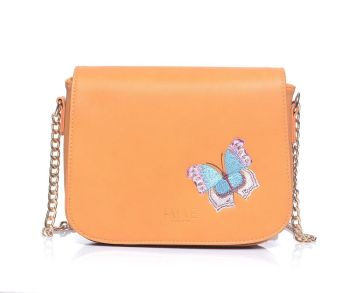 Fable Apricot Butterfly Embroidered Crossbody Handbag