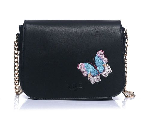 Fable Black Butterfly Embroidered Crossbody Handbag