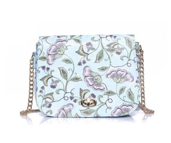 Blue Floral Print Crossbody Chain Handbag