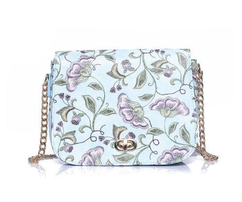 Blue Floral Print Crossbody Chain Handbag