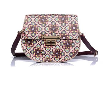Faux Leather Beige/Wine Floral Print Crossbody Handbag