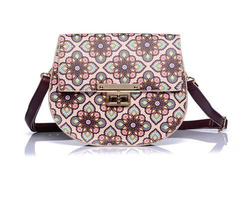 Faux Leather Beige/Wine Floral Print Crossbody Handbag