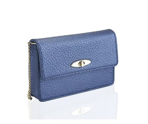 Small Metallic Navy Soft Textured Purse Handbag