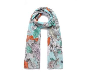 Mint FEATHER ILLUSTRATION Print Oversized Lightweight Fashion Scarf
